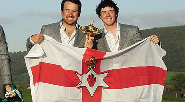 Rory McIlroy, right, pictured with fellow Northern Irish golfer Graeme McDowell at the 2010 Ryder Cup. Photo: Getty Images