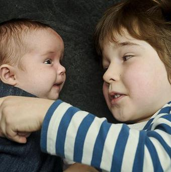 Seven-week old Floren Blake was born five years after her twin brother Reuben