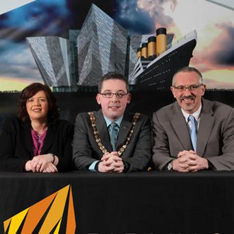 Tim Husbands, CEO of Titanic Belfast (right), Mayor of Belfast, Niall ' Donnghaile, and Cathy McCorry, Managing Director of Grafton Employment Group, who are inviting candidates to take part in 'T-Factor'. Photo: PA