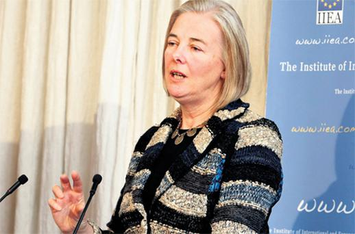 Catherine Day, Secretary General of the European Commission, speaking at the Institute of International and European Affairs yesterday on 'The EU in 2012 - A Commission Perspective'. Photo: Steve Humphreys