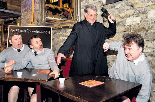 Eighteen years after it was last performed, 'Religious Knowledge' returns with its original cast of Gerry Conneely and Gary McSweeney, Tommy Tiernan and Philip Sweeney.