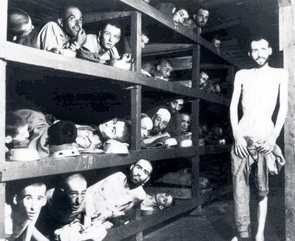 Survivors of the Buchenwald concentration camp (above) after Allied troops liberated the camp in April, 1945
