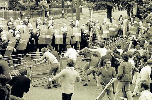 THIN BLUE LINE: A small force of gardai contained angry protesters outside the British Embassy in Ballsbridge, Dublin, during the hunger strikes in 1981.