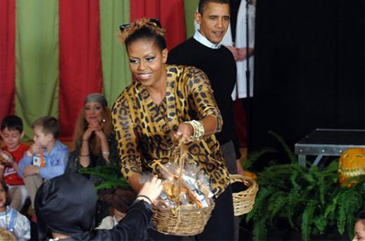 First Lady Michelle Obama dressed as a leopard in 2009 during an event at the White House. Photo: Getty Images