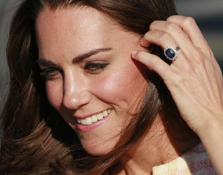 Kate, the Duchess of Cambridge, upon arriving in Charlottetown on Prince Edward Island as part of a royal tour of Canada with her husband, Prince William, the Duke of Cambridge, Sunday, July 3, 2011. (AP Photo/Robert F. Bukaty)
