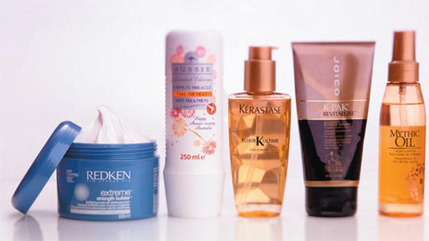 Redken Extreme Strength Builder Fortifying Mask; Aussie 3 Minute Miracle Take the Heat Deep Treatment; Kerastase Elixir Ultime; Joico K-Pak Revitaluxe Bio-Advanced Restorative Treatment; L'Oreal Professionel Mythic Oil