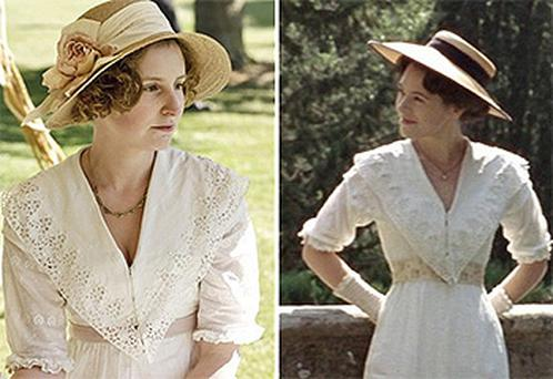 Left: Laura Carmichael as Lady Edith Crawley in Downton Abbey. Right: Elaine Cassidy as Lucy Honeychurch in A Room With A View (2007)