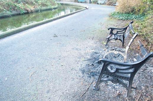 The charred remains of the bench in Dublin's Herbert Park, paid for by Ms Verwoerd