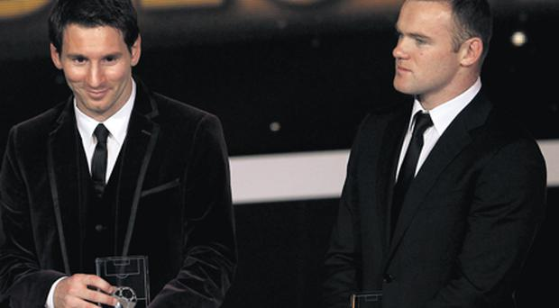 Player of the Year Lionel Messi and Wayne Rooney at the Ballon d'Or Gala in Zurich last night