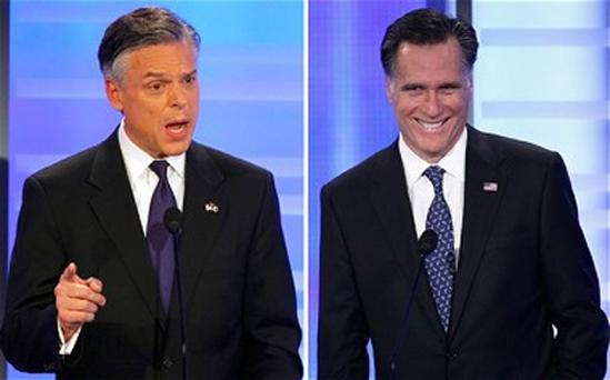 Jon Huntsman (left) has increased pressure on front-runner Mitt Romney saying he was 'making himself completely unelectable' with gaffes about firing people during 2012 US election race