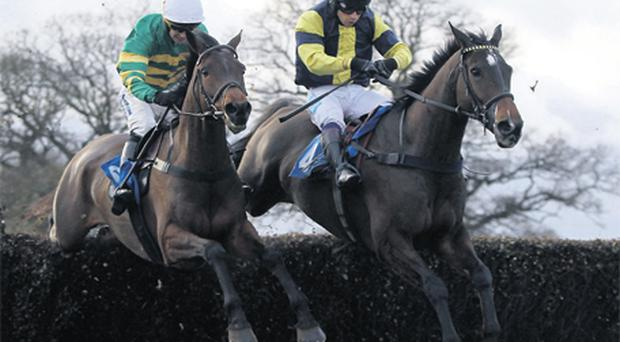 William Kennedy nurses Made In Time (left) into the lead at the final fence ahead of Time For Spring and Sam Waley-Cohen before going on to win at Taunton