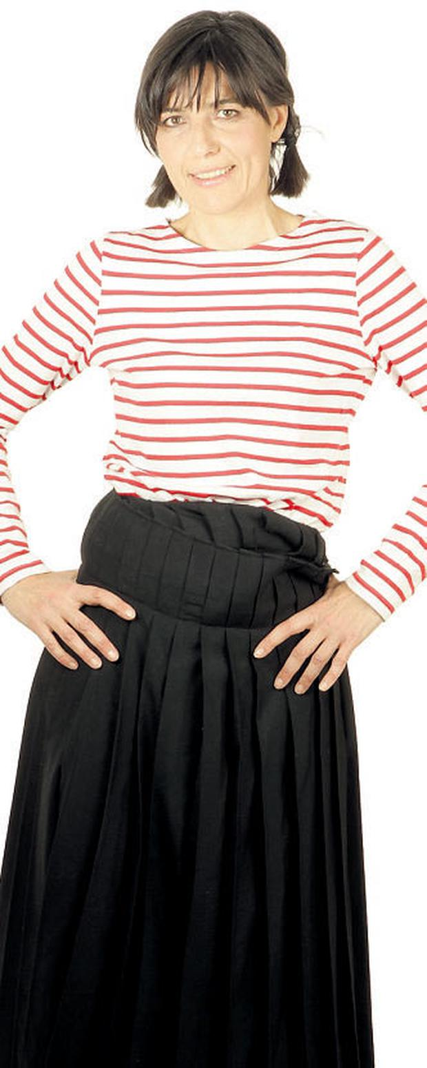 Vintage French sailor top, skirt by Yamamoto. Photo: Gerry Mooney