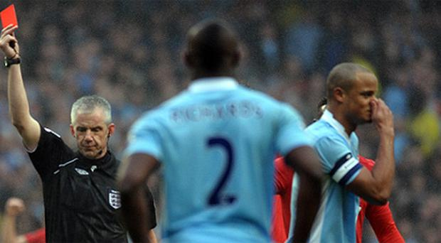 Vincent Kompany has had his appeal against his red card in Sunday's game rejected