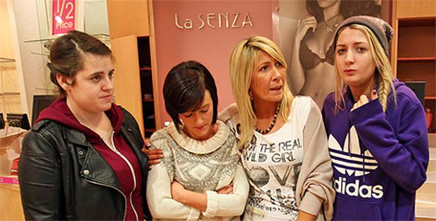 From left: Jenny Coyne, Jenny Andrews, Lynn Higgins-Gill and Nikki Kirwan taking part in a sit-in at the La Senza shop in Liffey Valley Shopping Centre, Dublin, yesterday