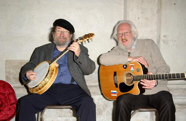 Barney McKenna and Eamonn Campbell from The Dubliners attend the Temple Bar TradFest launch at Dublin City Hall in Dublin, Ireland on Tuesday 10 January 2012. Photo credit: Barbara Lindberg.
