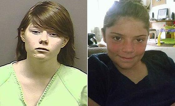 Alyssa Bustamante, left, strangled neighbour Elizabeth Olten, 9