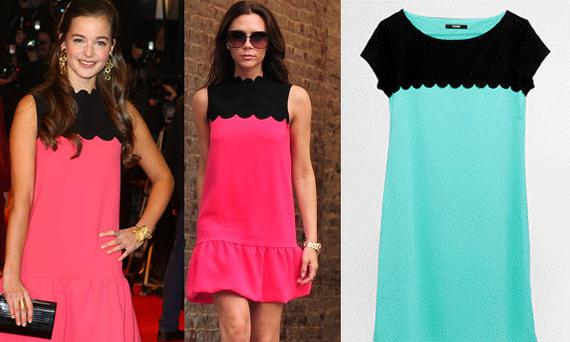 Celine Buckens and Victoria Beckham both wear a silk-crepe drop-waist dress from Victoria, Victoria Beckham. Right: £16 dress from George at Asda