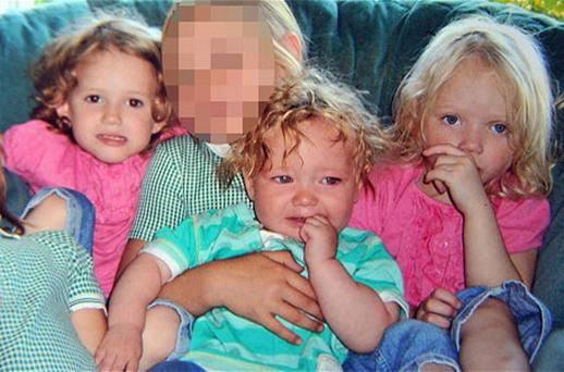 Jordan Smith, 2, (front) and twins Holly and Ella Smith, 4, (in pink) who died in the house fire Photo: PA