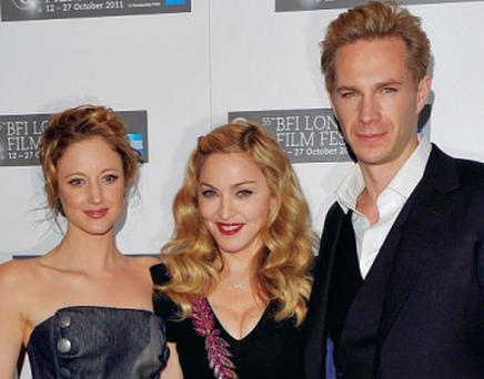 Red carpet: Andrea Riseborough with Madonna and co-star James D'Arcy