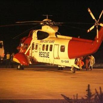 Coast Guard helicopters from Shannon and Waterford were scrambled after a trawler sank off Cork. Photo: PA