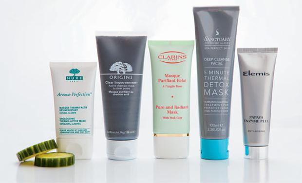 Pictured, from left: Nuxe Unclogging Thermo-Active Mask; Origins Clear Improvement; Clarins Pure and Radiant Mask; Sanctuary 5 Minute Thermal Detox Mask; Elemis Papaya Enzyme Peel