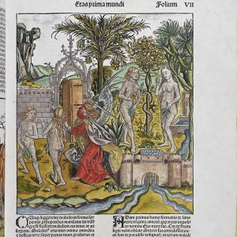 A hand-coloured copy of the Nuremberg Chronicle of 1493 (Cambridge University Library/PA)
