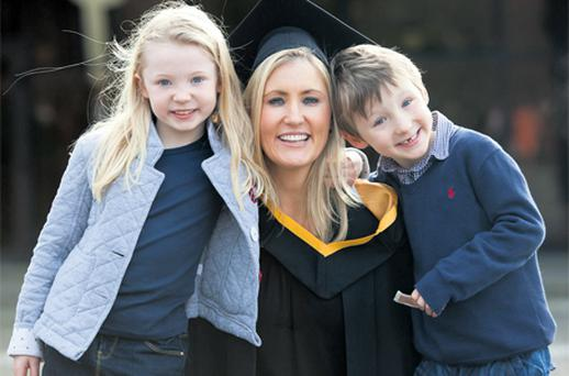 Attending the University of Limerick conferral ceremony yesterday were Mairead Hussey, along with children Molly and Paddy, who come from Lisnagry, Co Limerick. Mairead graduated with a Masters of Science at UL