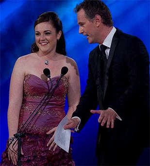 Adrienne Hussey with Rose of Tralee Presenter Daithi O'Sé