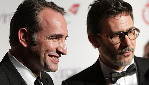 Jean Dujardin and Michel Hazanavicius pose with Their Film Of The Year Award