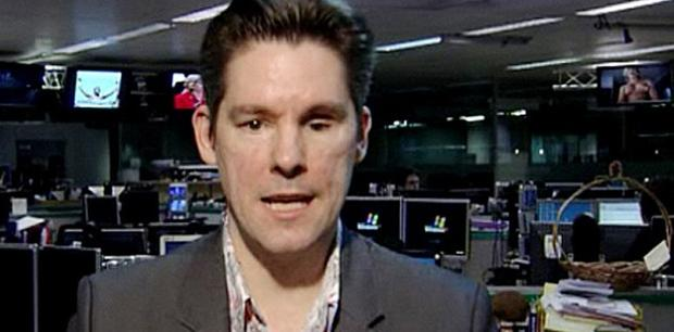 The image appeared for a few seconds, top right, behind political blogger Dan Hodges