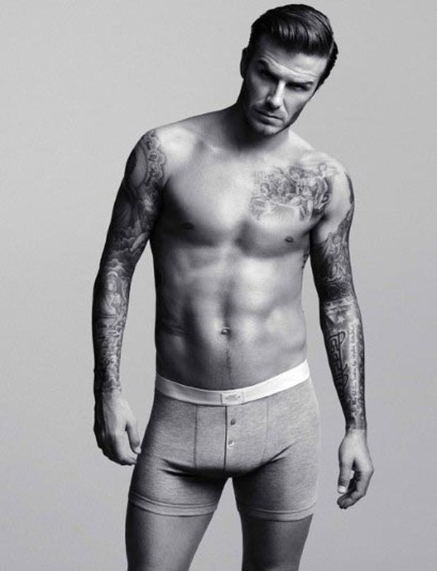 David Beckham poses in his H&M underwear range Photo: H&M