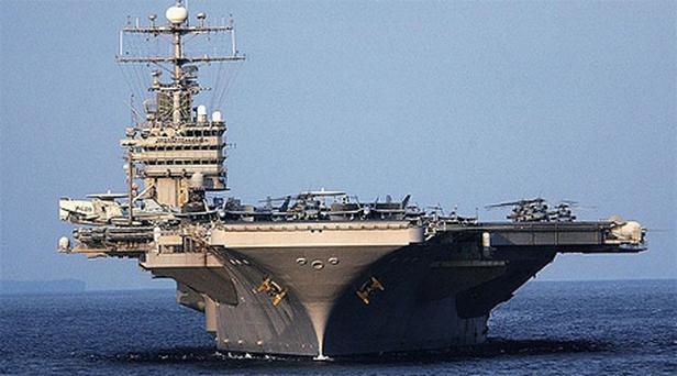 USS Abraham Lincoln in Indonesia, 2005. The nuclear-powered carrier entered the Gulf without incident on Sunday