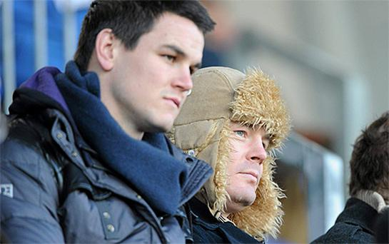 Leinster rugby players Brian O'Driscoll and Jonathan Sexton enjoy the action during Leinster A's victory over Pontypridd in the British & Irish Cup quarter-final at Donnybrook, Dublin yesterday