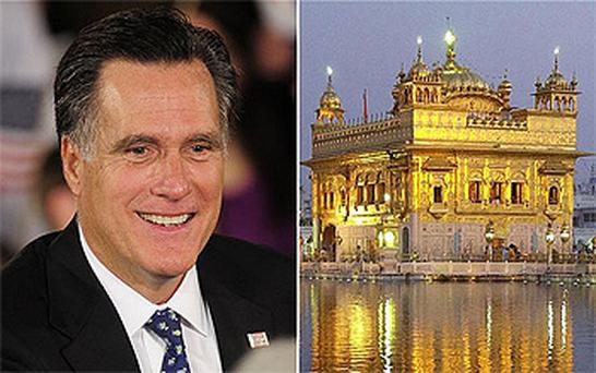 Republican Presidential hopeful Mitt Romney and the Golden Temple in Amritsar