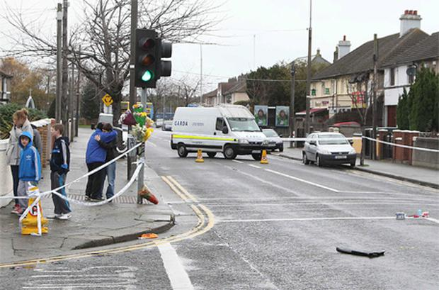 The scene at St Eithne Road and Fassaugh Road in Cabra where the hit and run took place. Photo: Collins
