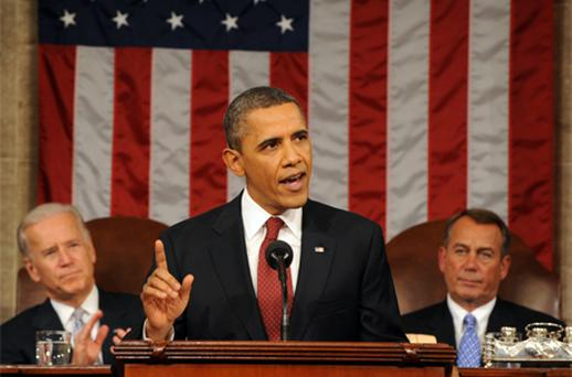 US President Barack Obama delivers his State of the Union address. Photo: Getty Images