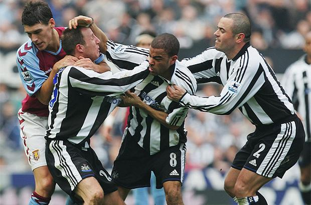 Newcastle pair Kieron Dyer and Lee Bowyer were sent off in disgrace after tearing strips off each other during a Premier League game against Aston Villa back in 2005