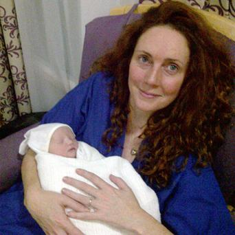 Rebekah Brooks with her daughter Scarlett Anne Mary Brooks at The Portland Hospital, London. Baby Scarlett was delivered at 1605 and weighed 6lbs 1oz according to a spokesperson. Photo: PA