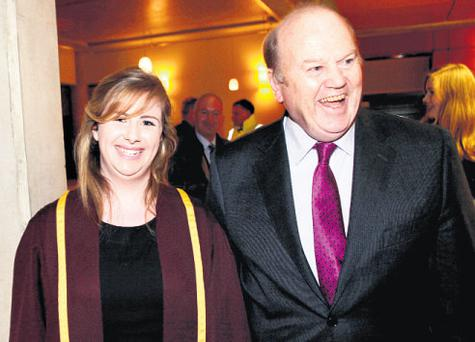 Sarah Hardiman, of the UL Debating Union, with Mr Noonan last night