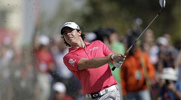 Rory McIlroy in action in Abu Dhabi