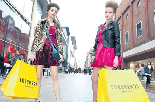 Models Nasrin and Danielle offered a fashionable sneak peek of Forever 21 at the store opening in November, 2010, in the Dublin's Jervis Centre