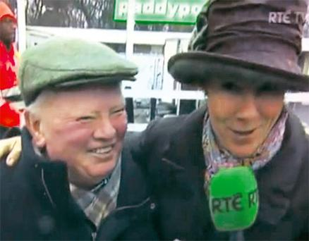 RTE's Tracy Piggott interviews trainer Peter Casey yesterday at Leopardstown