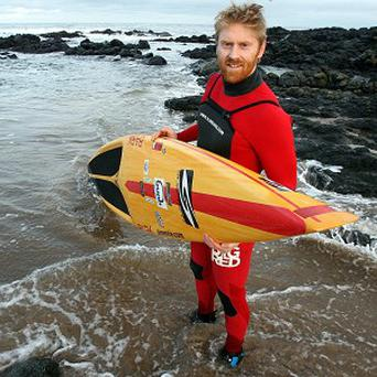 Surfer Al Mennie has ridden some of the largest waves on record
