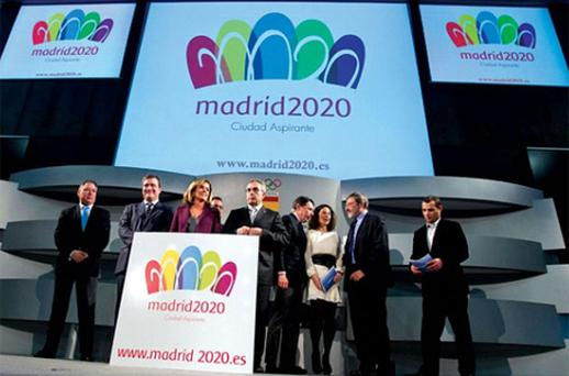 The logo was designed by Luis Peiret, 22, a graphic arts student from Zaragoza and chosen in a competition by the Spanish Olympic Committee. Photo: AP