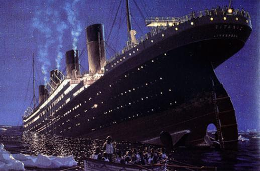 The Titanic: an artist's impression of the sinking