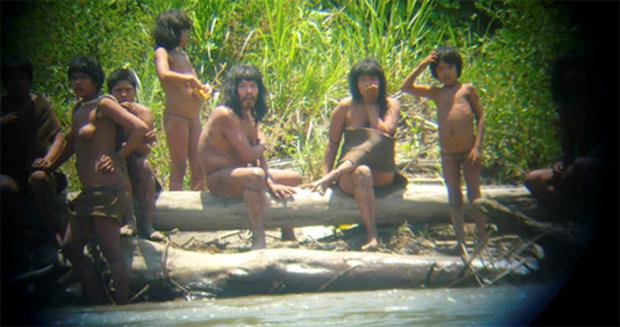 Members of the Mashco-Piro tribe, at an undisclosed location near the Manu National Park in southeastern Peru