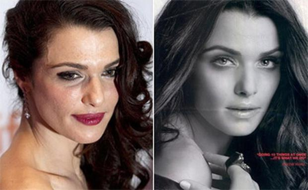 Rachel Weisz at a film premiere in 2011 and (right) the L'Oreal anti-wrinkle cream advert