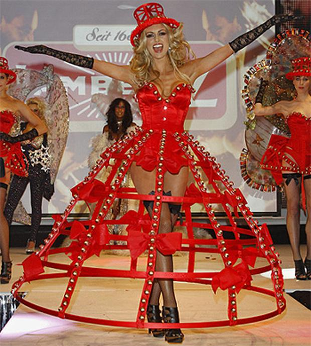 Rosanna Davison models a dress made from confectionery at the Chocolate and Fashion Show in Cologne