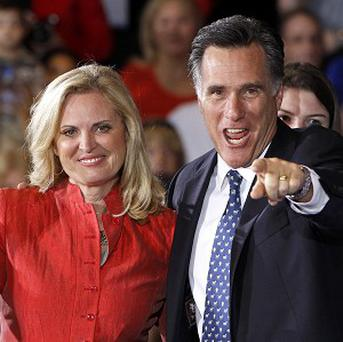 Mitt Romney with his wife Ann after his Florida primary win (AP)