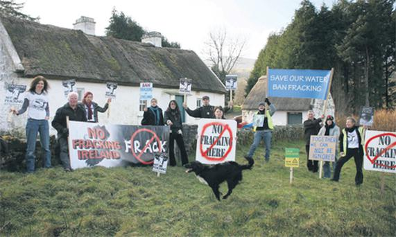 Anti-fracking demonstrators in Leitrim last year.